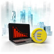 Euro gold coin with negative online results in business district — Stock Photo #48748013