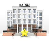 Top rating star in front of modern school building — Stock Photo