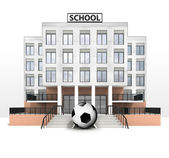 Football ball in front of modern school building — Stock Photo