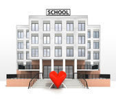 Love sign in front of modern school building — Stock Photo