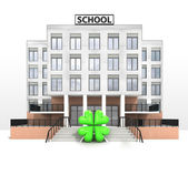 Happiness sign in front of modern school building — Stock Photo