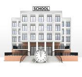 Stopwatch in front of modern school building — Stockfoto