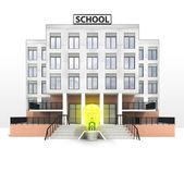 желтая лампочка напротив здания современной школы — Стоковое фото