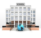 American world globe in front of modern school building — ストック写真