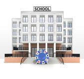 покер чип в передней части здания современной школы — Стоковое фото
