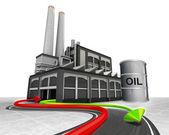 Barril de petróleo e importação exportação seta — Foto Stock