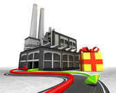 Freccia di esportazione importazione e confezioni regalo — Foto Stock
