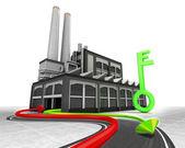 Tecla verde e importação exportação seta — Foto Stock
