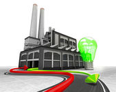 Lâmpada verde e importação exportação seta — Foto Stock