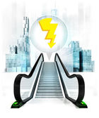 Thunderbolt in bubble above escalator — Stock Photo
