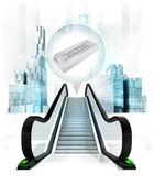 Silver ingot in bubble above escalator — Stock Photo