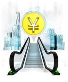 Yuan coin in bubble above escalator — Stock Photo