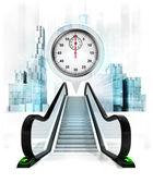 Stopwatch in bubble above escalator — Stockfoto
