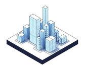 Isometric view to office city night scene — Stock Photo