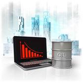 Barril de óleo, com resultados negativos, on-line na área de negócios — Fotografia Stock