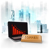 Copper commodity with negative online results in business district — Stock Photo