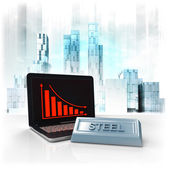 Steel commodity with negative online results in business district — Stock Photo