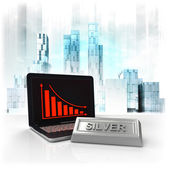 Silver commodity with negative online results in business district — Stock Photo