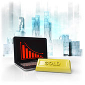 Gold commodity with negative online results in business district — Stock Photo
