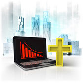 Golden cross with negative online results in business district — Stock Photo