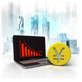 Yuan gold coin with negative online results in business district — Stock Photo