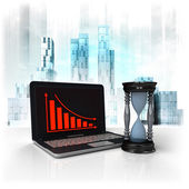 Hourglass with negative online results in business district — Stock Photo
