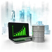 Oil barrel with positive online results in business district — Stock Photo