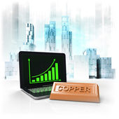 Copper commodity with positive online results in business district — Stock Photo
