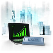 Steel commodity with positive online results in business district — Stock Photo