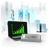 Silver commodity with positive online results in business district — Stock Photo
