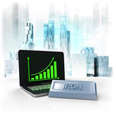 Iron commodity with positive online results in business district — Stock Photo