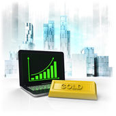 Gold commodity with positive online results in business district — Stock Photo