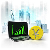 Yuan  golden coin with positive online results in business district — Stock Photo