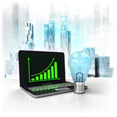 Green bulb with positive online results in business district — Stock Photo