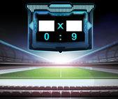 Football stadium with score screen — Stock Photo