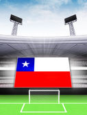 Chile flag banner in modern football stadium — 图库照片