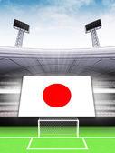 Banner de bandeira de japão em estádio de futebol moderno — Fotografia Stock