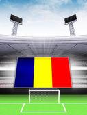 Romania flag banner in modern football stadium — Stock Photo