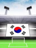 Südkorea flagge fahne im modernen fußballstadion — Stockfoto