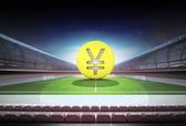 Yuan golden coin in midfield of magic football stadium — Stock Photo