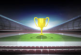 Champion cup in midfield of magic football stadium — Stock Photo