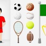 Italian sportsman with sport equipment collection vector — Stock Vector #48745619