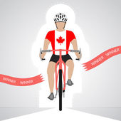 Canadian cyclist in front view crossing red finish line vector isolated — Stock Vector
