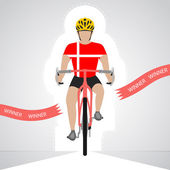 Danish cyclist in front view crossing red finish line vector isolated — Stock Vector