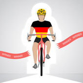German cyclist in front view crossing red finish line vector isolated — Stock Vector