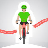 Green dressed cyclist in front view crossing red finish line vector isolated — Stock Vector
