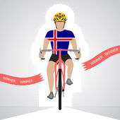 Icelandic cyclist in front view crossing red finish line vector isolated — Stock Vector