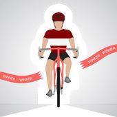 Latvian cyclist in front view crossing red finish line vector isolated — Stock Vector