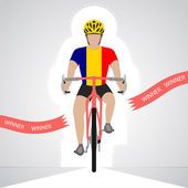 Romanian cyclist in front view crossing red finish line vector isolated — Stock Vector