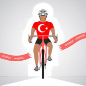 Turkish cyclist in front view crossing red finish line vector isolated — Stock Vector